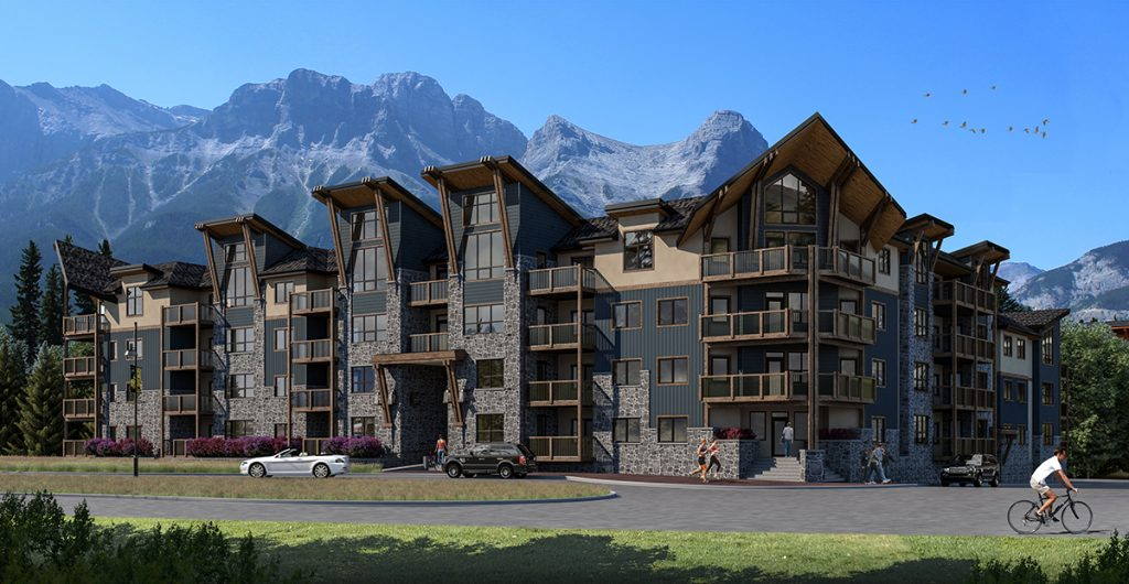 A rendered image of the White Spruce Lodge, a luxurious apartment vacation rental building with Canmore's mountains in the background and greenery and gardens in the foreground, which is at Spring Creek Vacations in Canmore, Alberta.