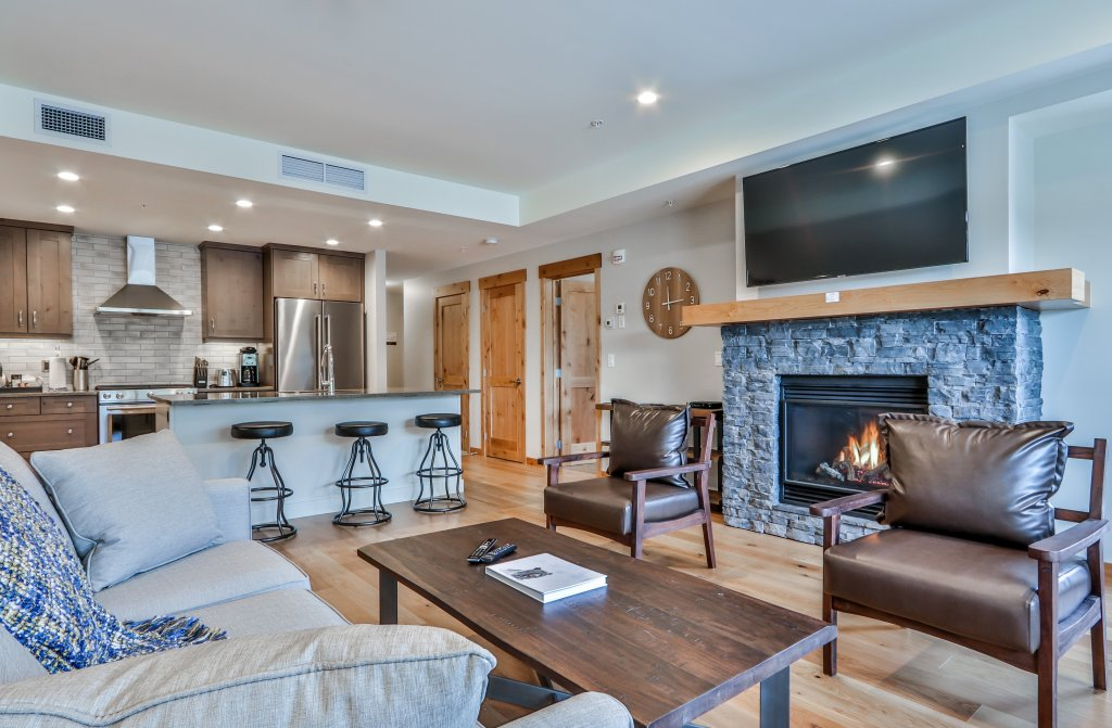 living room and kitchen in #313 White Spruce Lodge