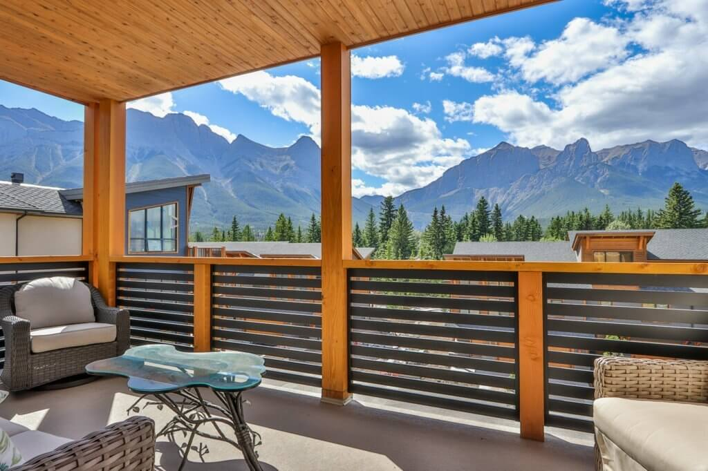 A sunny day view from a deck at a unit at Spring Creek Vacations