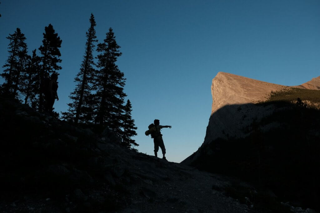Man on hike in Canmore, Alberta